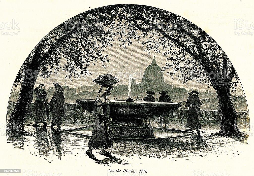 No Pincian Hill, Roma, Itália, antiguidades europeias, ilustrações - ilustração de arte em vetor