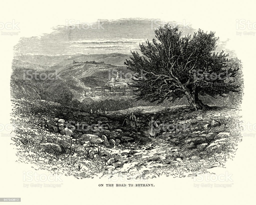 On the road to Bethany, 19th Century vector art illustration