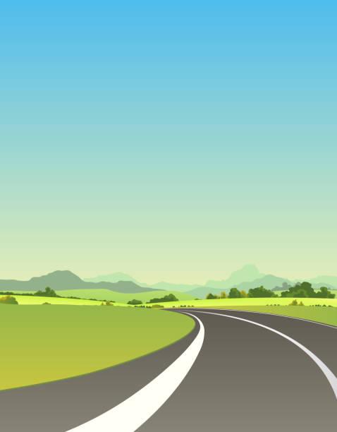 への道路で夏 - 草原点のイラスト素材/クリップアート素材/マンガ素材/アイコン素材