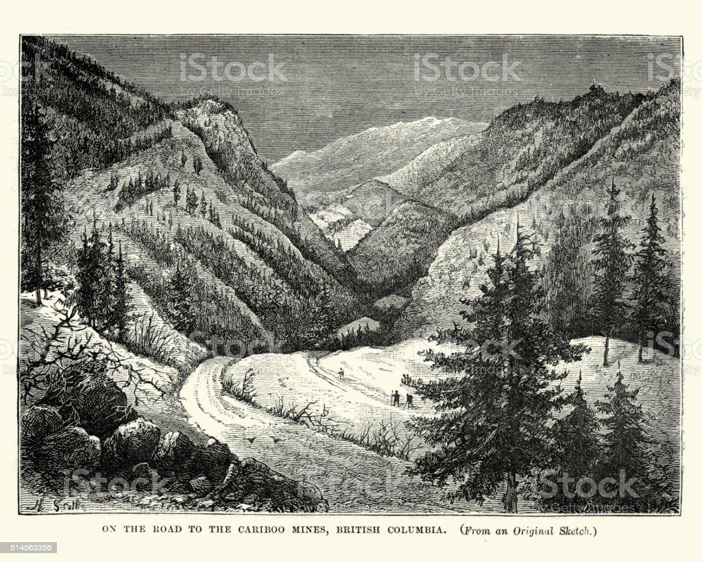 On the road to the Cariboo Mines, British Columba vector art illustration