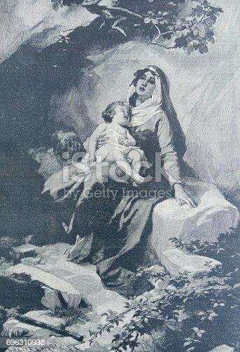 istock Auf der Flucht: Mutter und Kind utnerwegs 696310938