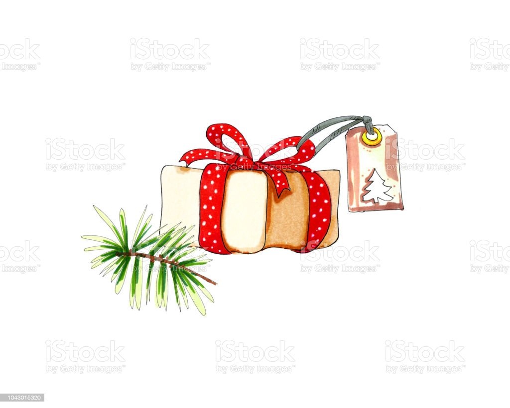 One Christmas Present Box With Red Ribbon Tag And Pine Branch Stock ...