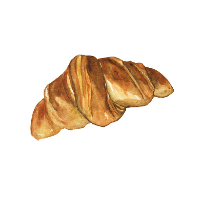 One croissant isolated on white background. Watercolor hand drawing illustration. Perfect for food design, print, cover, pattern.