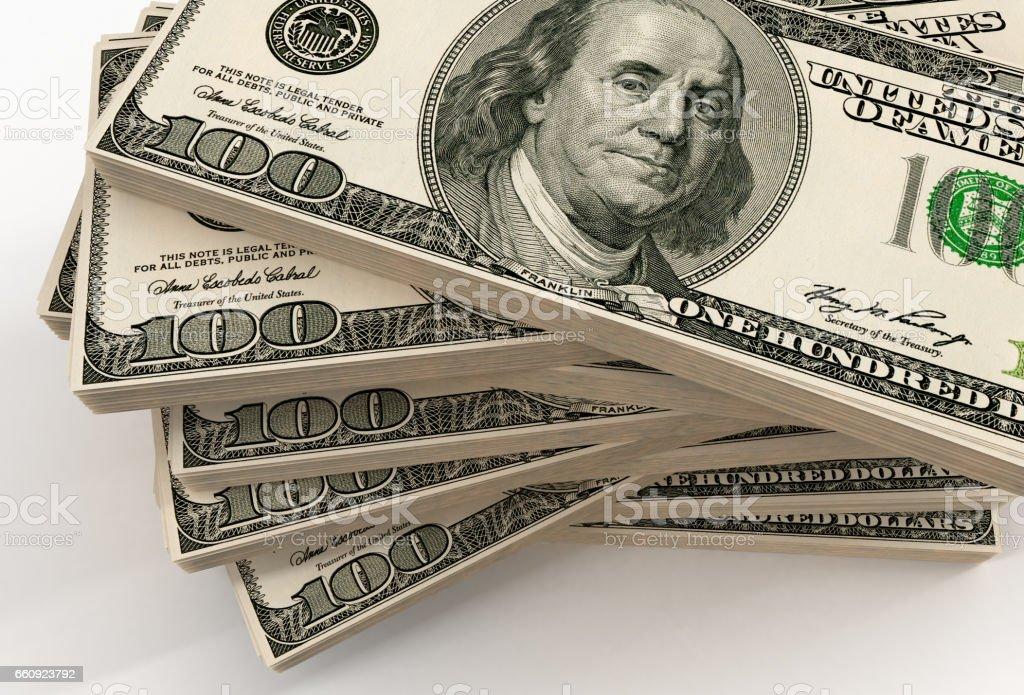 One hundred USD bills stack vector art illustration