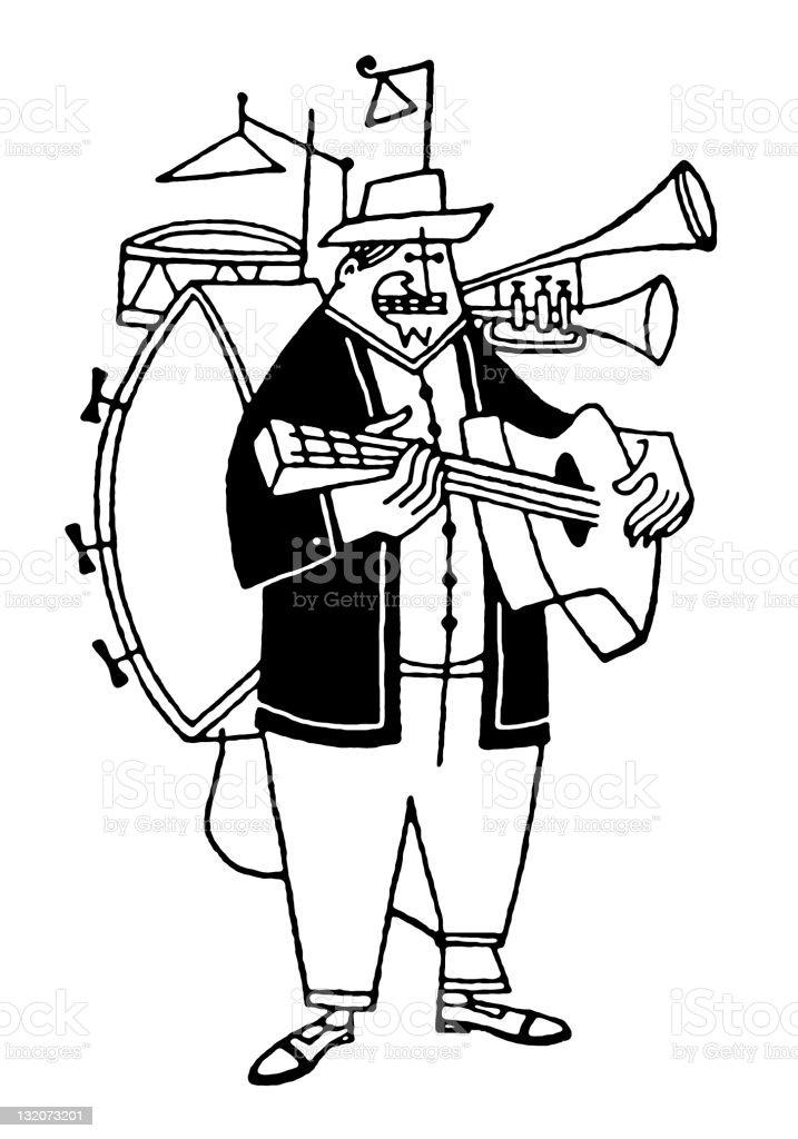 One Man Band royalty-free stock vector art