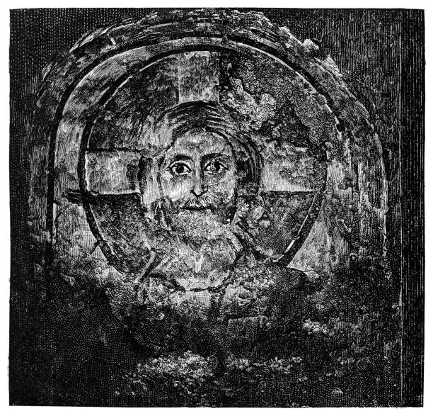 One of the oldest images of Christ in the Roman Catacombs. Baptistery of the holy Pontianus Illustration of a One of the oldest images of Christ in the Roman Catacombs. Baptistery of the holy Pontianus friar stock illustrations