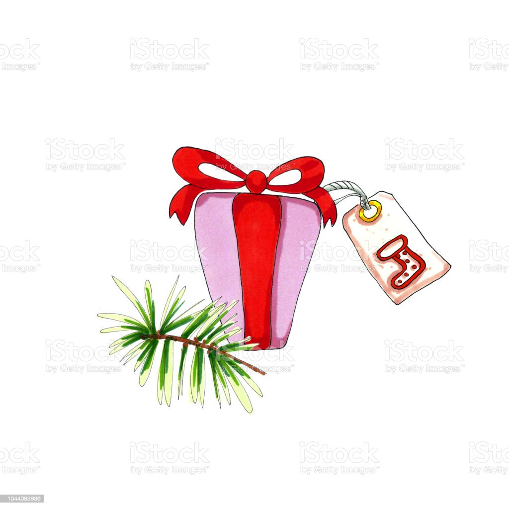 One Pink Christmas Present Box With Tag And Pine Branch Stock Vector ...