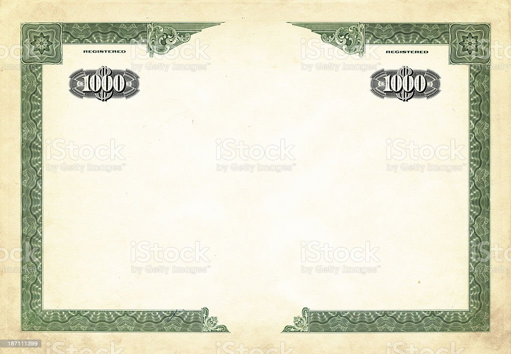 one thousand dollar bond vector art illustration