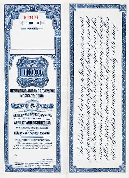 XL $1000 One Thousand Dollar Railroad Bond on White 1900 vector art illustration