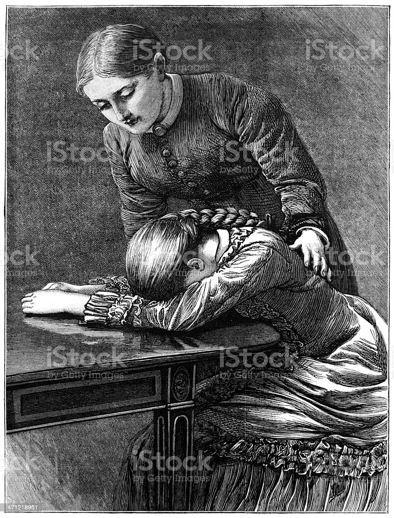 One young woman consoling another - Victorian illustration royalty-free stock vector art