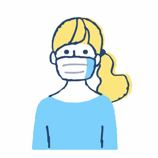 仮面をかぶった一人の若い女性 - くしゃみ 日本人点のイラスト素材/クリップアート素材/マンガ素材/アイコン素材