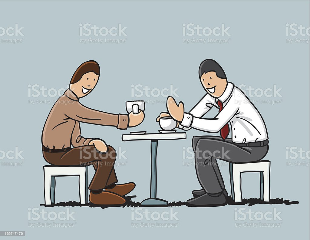 One-On-One Interview Coffee Table vector art illustration