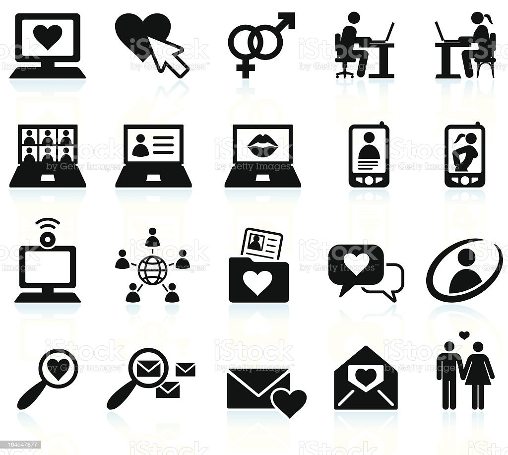 Online dating black & white royalty free vector icon set vector art illustration