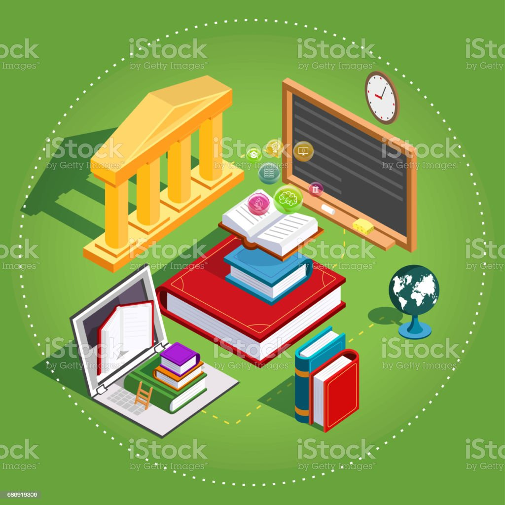 Online education Isometric. The concept of learning and reading books in the library. Flat design. Illustration vector art illustration