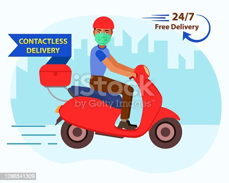Online home delivery concept. Contactless fast delivery of groceries and essential items due to covid-19. 24x7 Free food delivery with safety measures by delivery man with protective face mask.