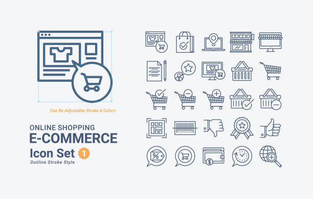 Online Shopping A01 Online Shopping Icon Set retail equipment stock illustrations