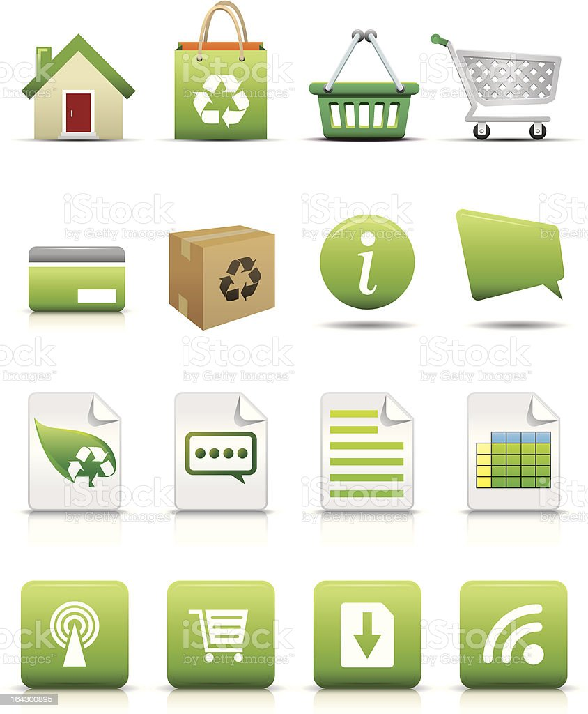 Online Shopping Icon Set - Natural Concept Professional vector icons series. Bag stock vector