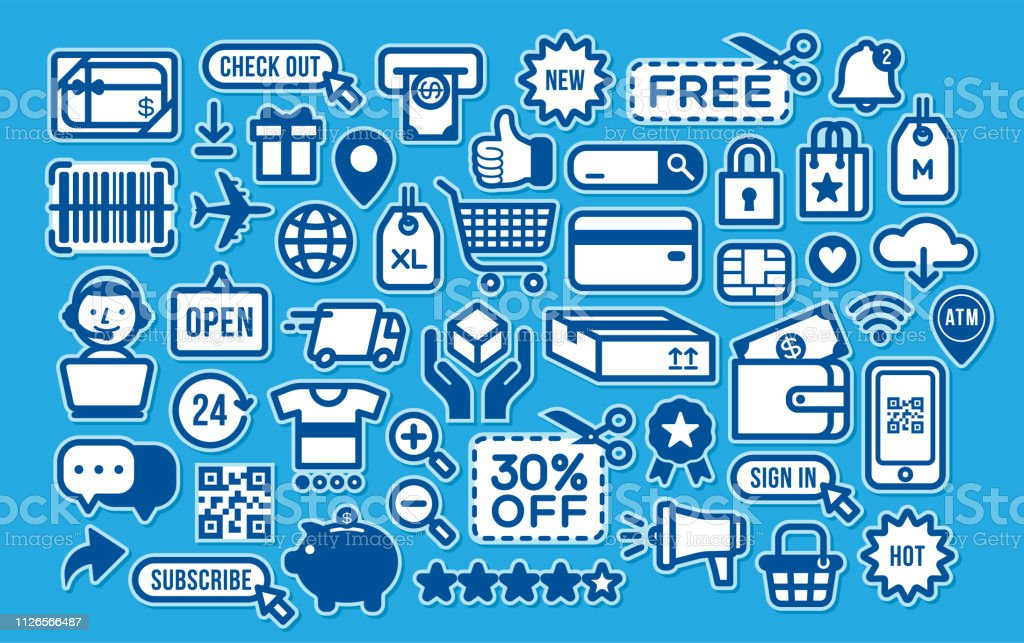 Online Shopping Sale Discount Retail Promotion Coupon Icons Stickers Stock Illustration Download Image Now Istock