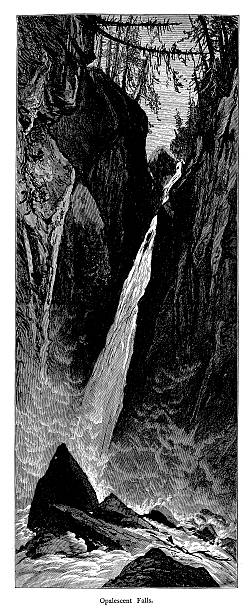 Opalescent Falls, Adirondack Mountains, New York vector art illustration