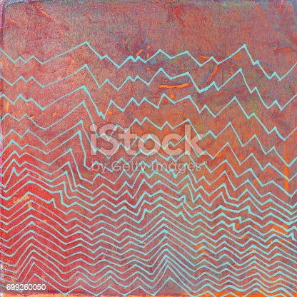 Line drawing with zig zag texture in opaque blue color. The illustrated design is on top of a hand painted textured background with shades of red and orange acrylic paint. The illustrated line art looks similar to electrical waves or even a mountain range.