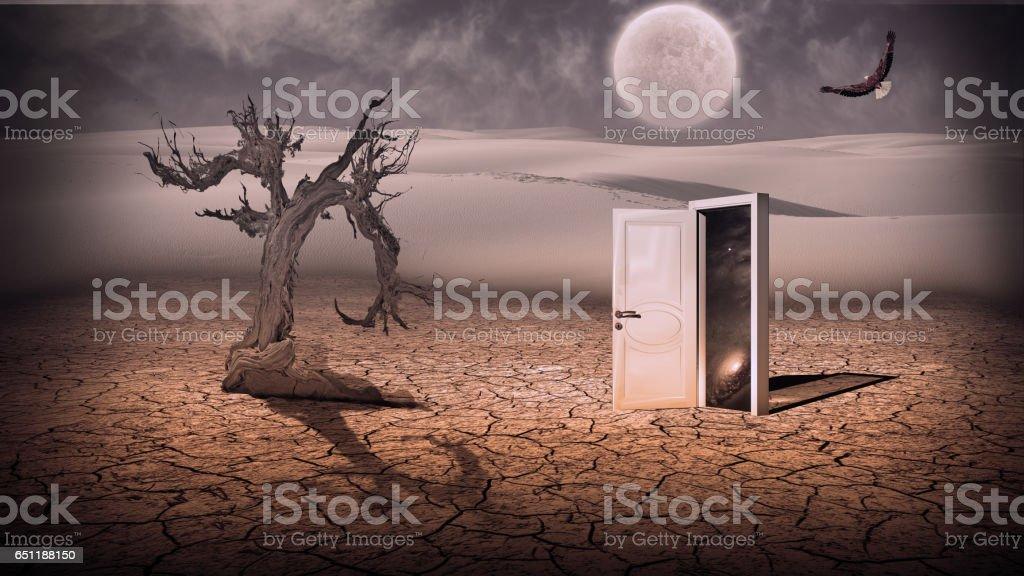 Open doorway show a somehow semitransparent space scene in strange landscape vector art illustration