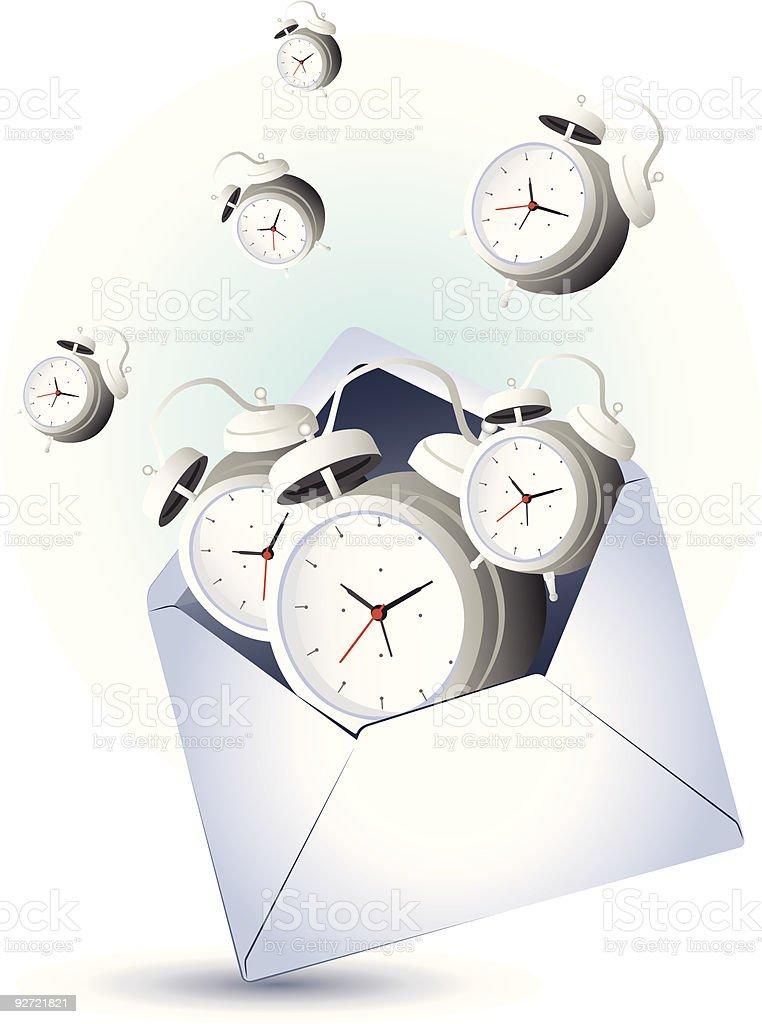 Open envelope with alarm clocks royalty-free stock vector art