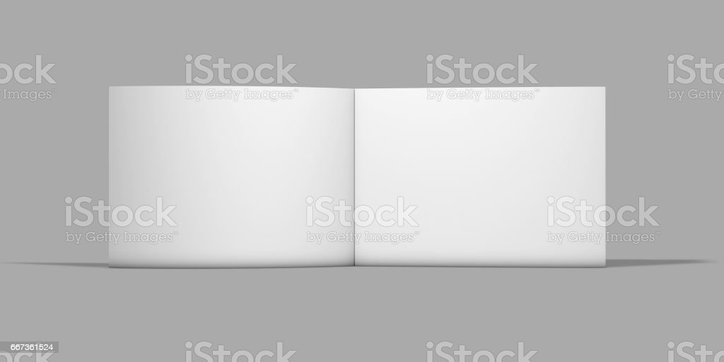 Open horizontal wide pages catalog standing on floor. vector art illustration