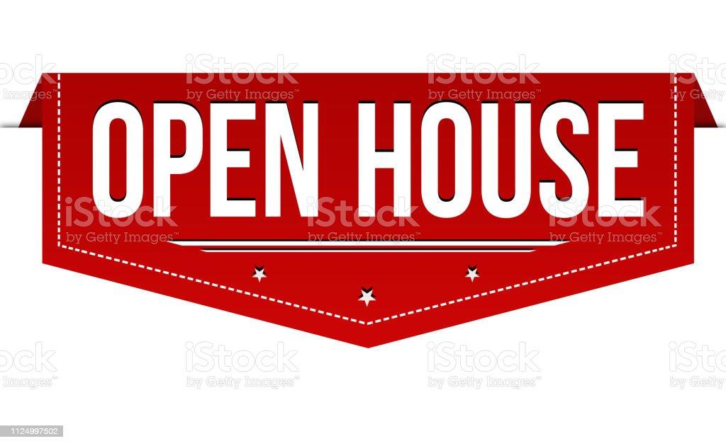 Open house banner design royalty-free open house banner design stock illustration - download image now