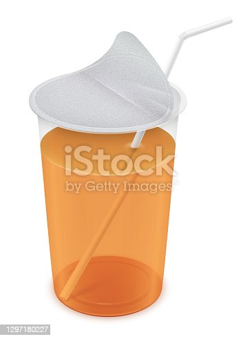 istock Open round transparent plastic cup with foil cap and straw. Packaging isolated mockup illustration. 1297180227