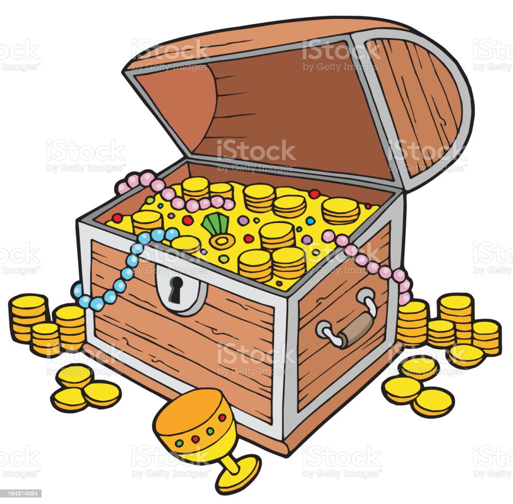 Open treasure chest vector art illustration