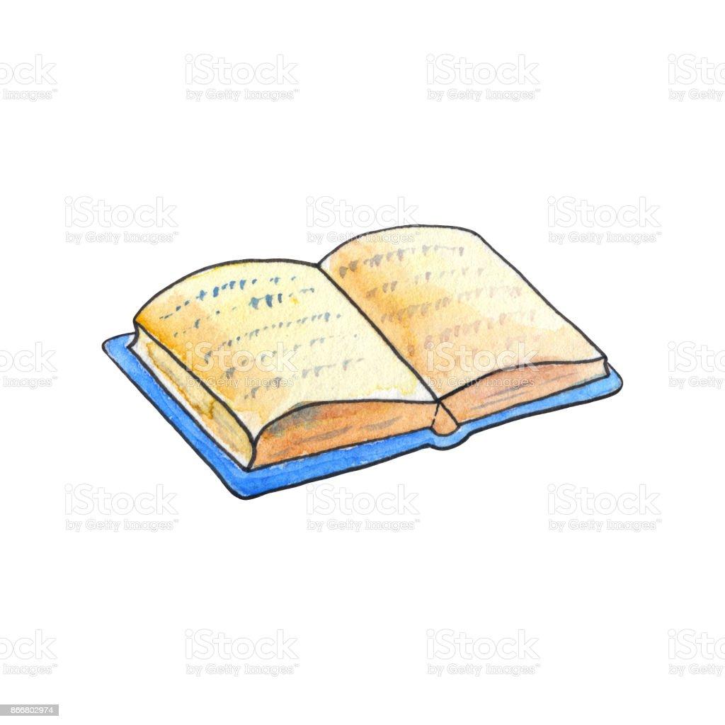 Book Cover Watercolor Reviews ~ 白い背景の水彩画で開いた本は青い表紙の手描きイラストで古い本 いたずら書きのベクターアート素材や画像を多数ご用意