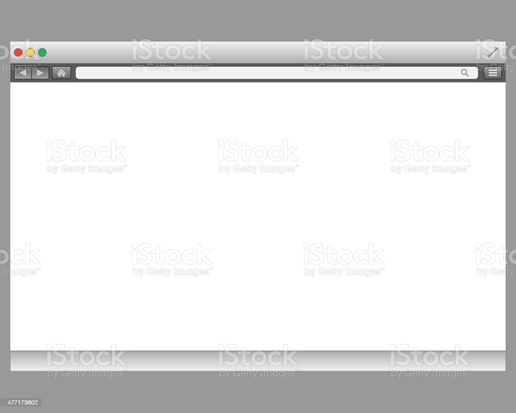 Opened browser window template. Past your content into it vector art illustration