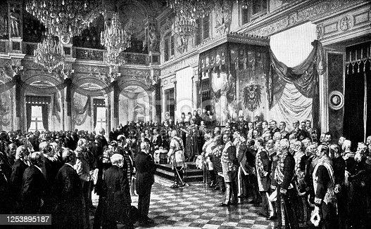 istock Opening of the German Reichstag in the White Hall of the Berlin Schloss, by Kaiser Wilhelm II by Anton von Werner - 19th Century 1253895187