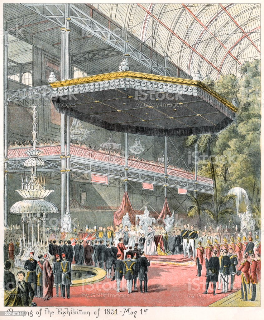 Opening of the Great Exhibition in 1851 vector art illustration