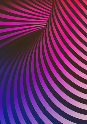 Optical Illusion Warped Stripes Blue Pink Vertical Background