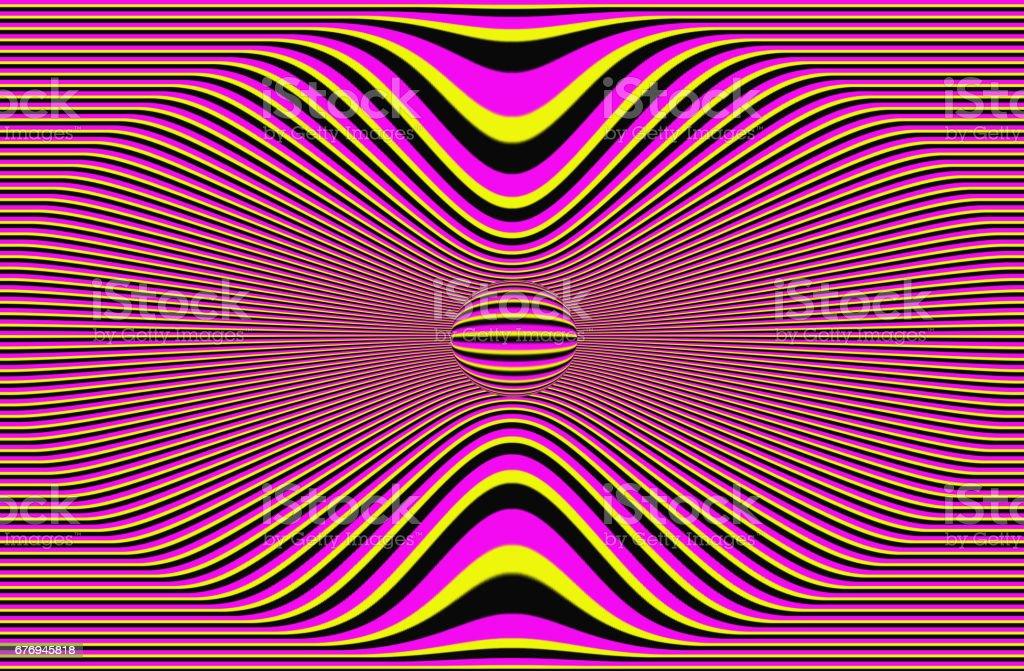 Optical Illusion Yellow Black Pink Lines Stock Illustration