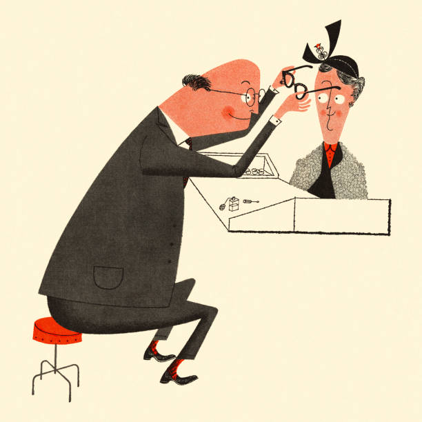 optometrist fitting a woman with glasses - old man glasses stock illustrations, clip art, cartoons, & icons