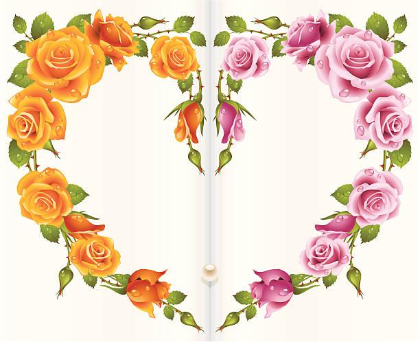 orange und rosa rose rahmen in form von herzen - perlenstrauß stock-grafiken, -clipart, -cartoons und -symbole