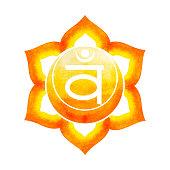 289df0f2d6f91 ... cor laranja de conceito sacral do chacra símbolo, flor floral, aquarela  pintura mão desenhada ...