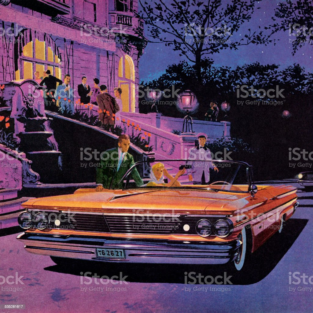 Orange Convertible Vintage Car vector art illustration