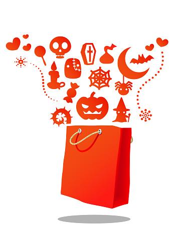 orange Halloween shopping bag
