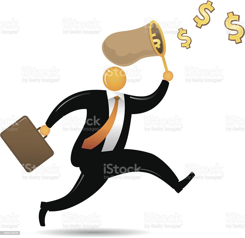 Orange Head Man Chasing Dollar royalty-free stock vector art