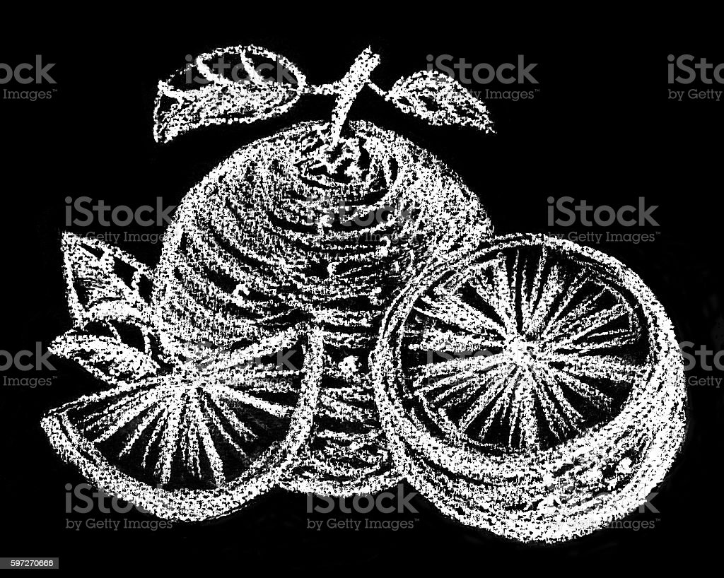 Orange. Pastel drawing. Illustration on chalkboard. Black + white royalty-free orange pastel drawing illustration on chalkboard black white stock vector art & more images of black background