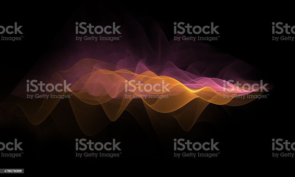 Orange pink waves pattern on a black background vector art illustration