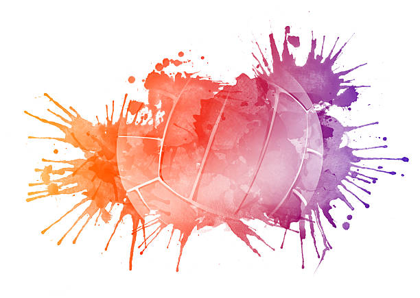 Orange, red, and purple splattered paint image of volleyball vector art illustration