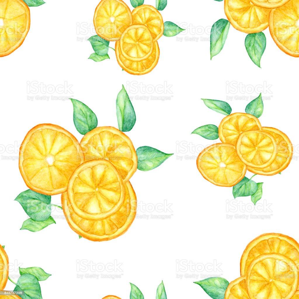 オレンジ スライスの葉に白い背景 シームレスな壁紙 手描き水彩