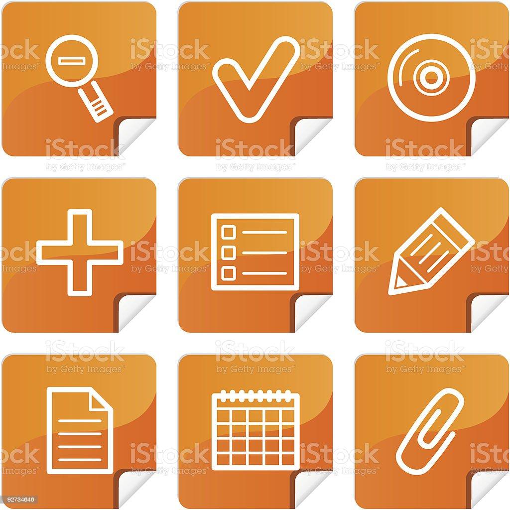 Orange Aufkleber basic-icons set Lizenzfreies orange aufkleber basicicons set stock vektor art und mehr bilder von bleistift
