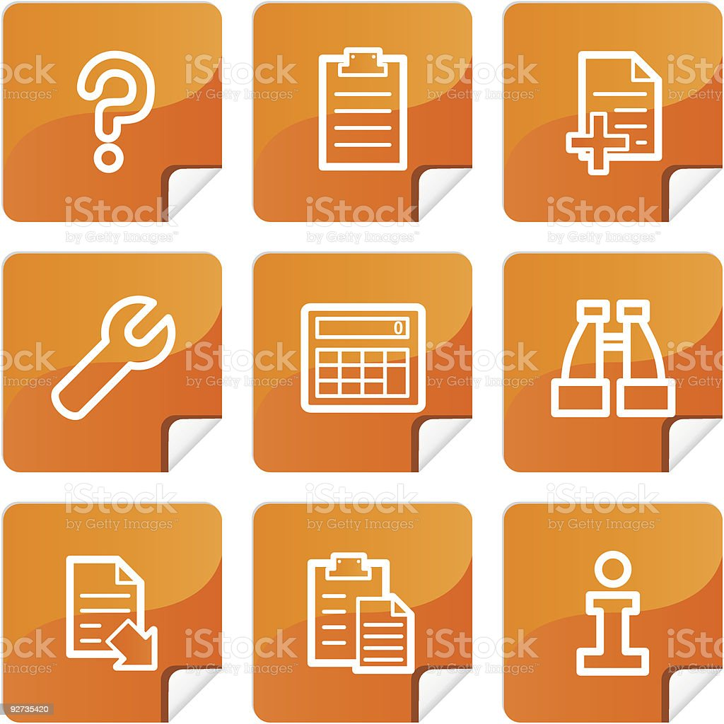 Orange stickers document icons set royalty-free stock vector art