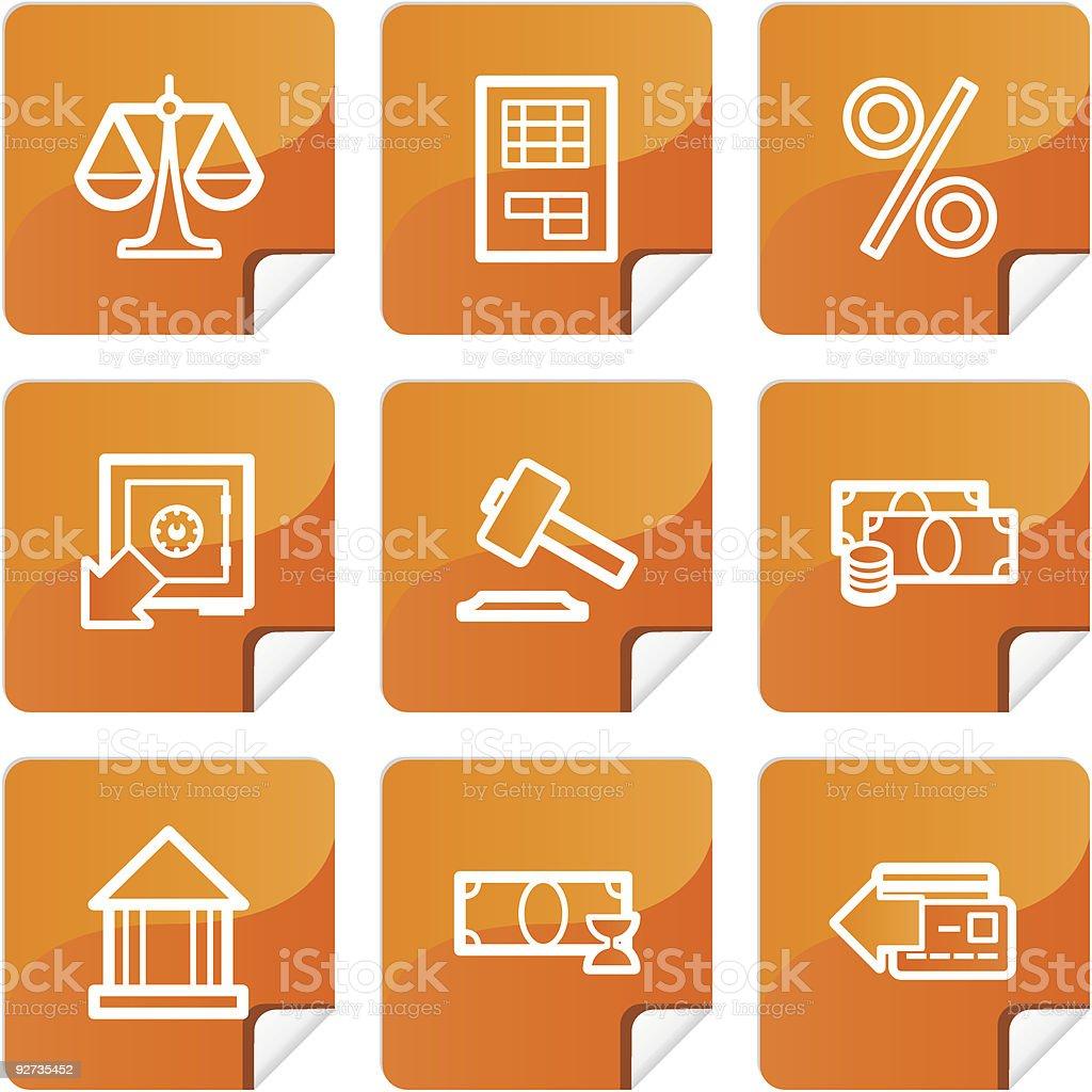 Orange Aufkleber Finanzen icons-set Lizenzfreies orange aufkleber finanzen iconsset stock vektor art und mehr bilder von amerikanische geldmünze