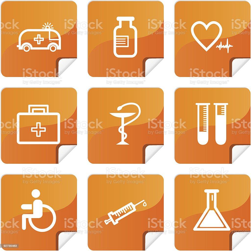 Orange stickers medicine icons set royalty-free stock vector art